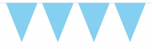 Light blue garden party pennant chain made of plastic 10m