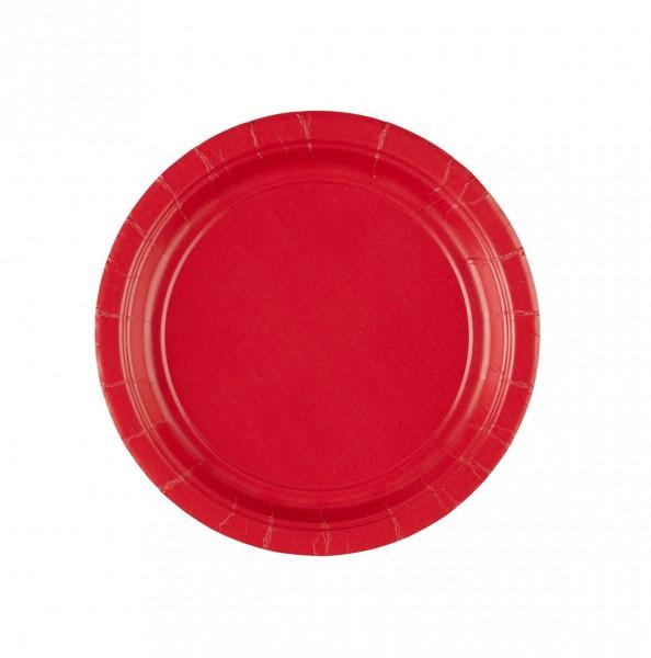 8 Pappteller Partytime Rot 17,7cm