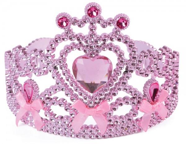 Roze hart glitter kroon voor kinderen