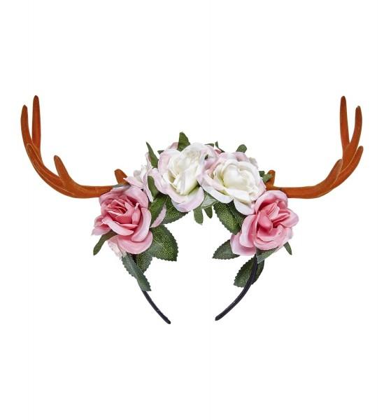 Diadema de elfo de madera con astas y rosas