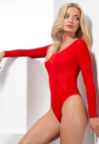 Body manches longues pour femme rouge