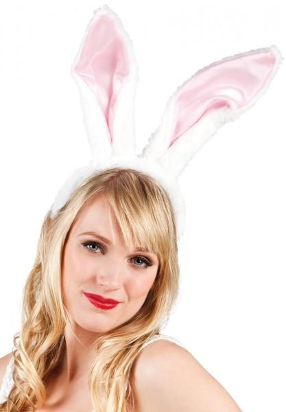 Premium konijnenoren in wit-roze