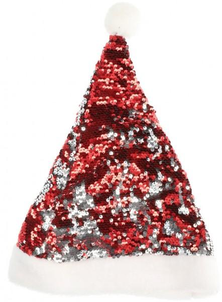 Rot-silberne Pailletten Weihnachtsmütze