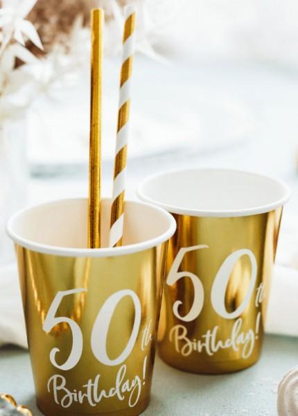 6 glanzende bekers voor 50e verjaardag 220ml