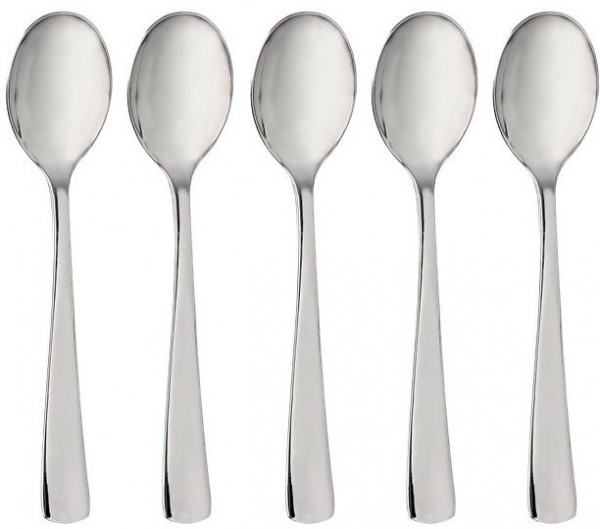 32 high quality plastic spoons silver small