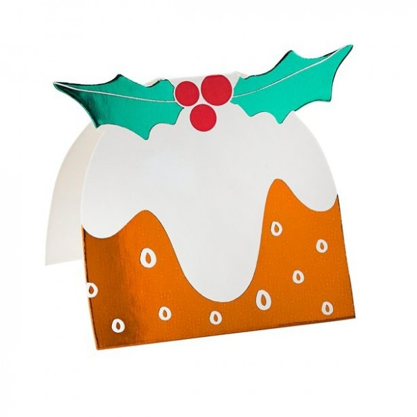 4 Christmas pudding place cards