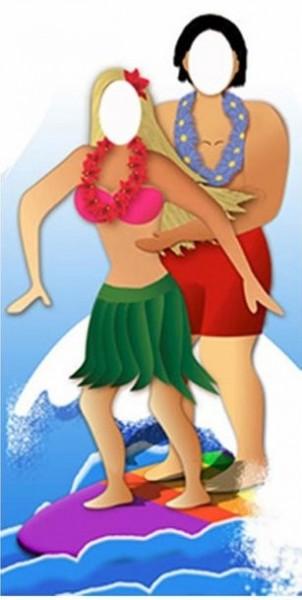 Pared de fotos de pareja de surfistas hawaianos 1,83m