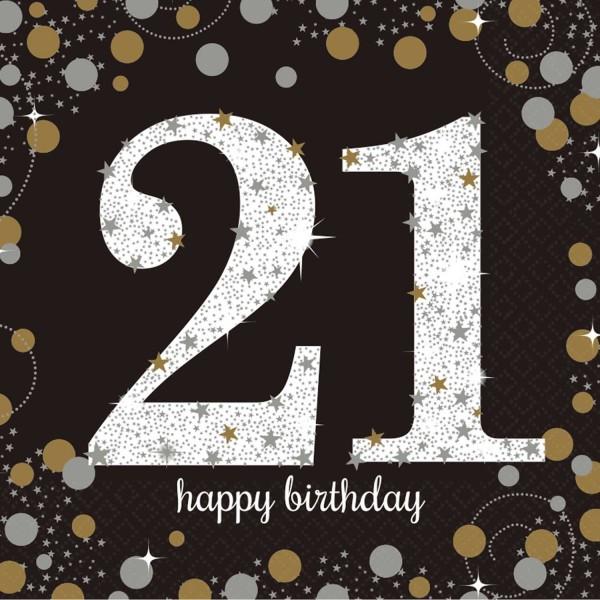 16 servilletas doradas 21 cumpleaños 33cm