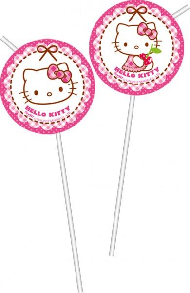 6 Hello Kitty Sweet Cherry Flexi Strohhalme 24cm