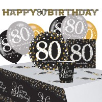 Golden 80th Birthday Deko Set 41-teilig