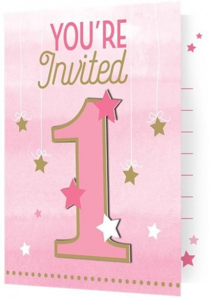 8 Twinkle First Baby Girl Einladungskarten
