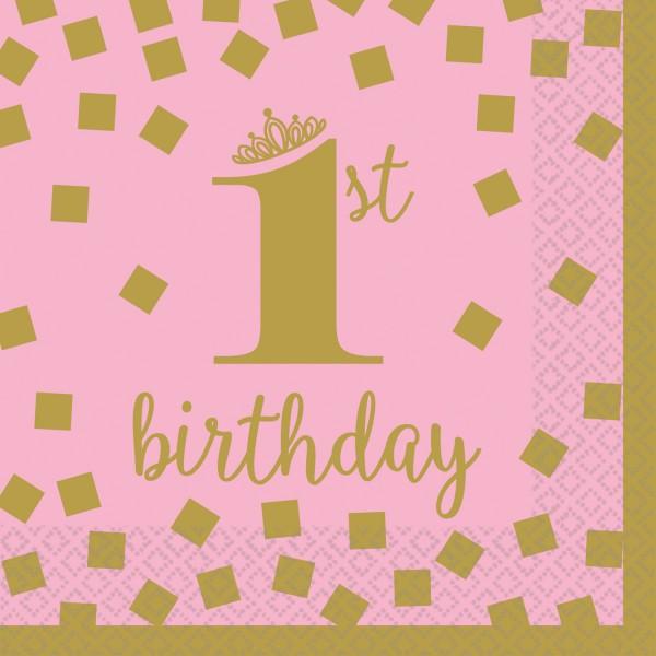 16 Pinkstar 1st Birthday Servietten 25cm