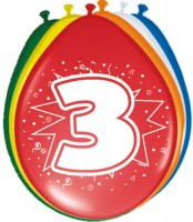 8 Ballons Birthday Zahl 3 30cm