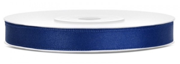 Satijnen lint 25m, marineblauw 6 mm breed