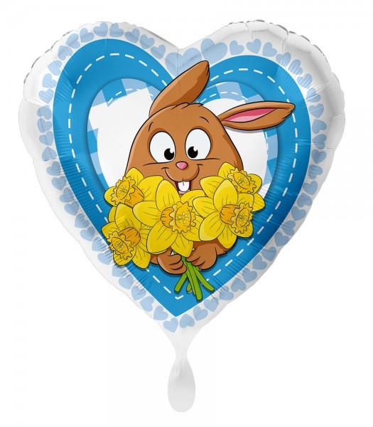 Króliczek z balonem foliowym serce kwiat 43cm