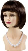 Weiße Perlenhalskette 70er Jahre Stil