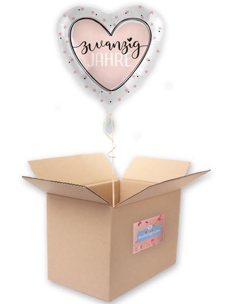 20. Geburtstag Ballon Shiny Heart 45cm