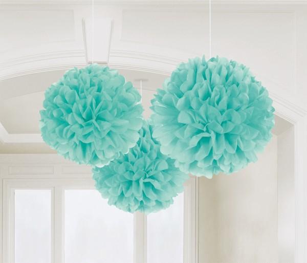 3 pompons Romance turquoise