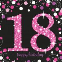 16 Pink 18th Birthday Servietten 33cm
