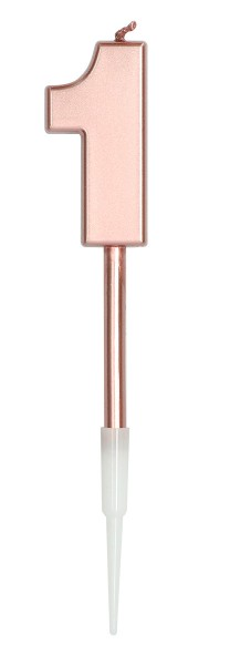Candle number 1 rose gold metallic