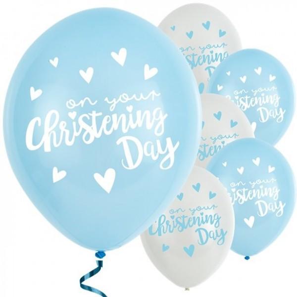 6 Blaue Luftballons Taufkind 28cm