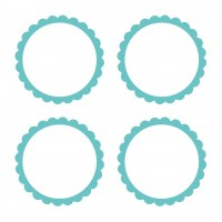 20 self-adhesive labels with turquoise flower border