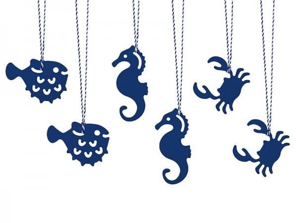 6 cartes cadeaux maritimes Ahoy avec ruban