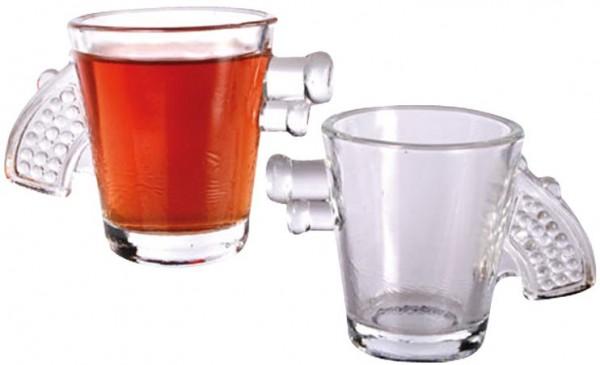 2 verres à liqueur avec design pistolet