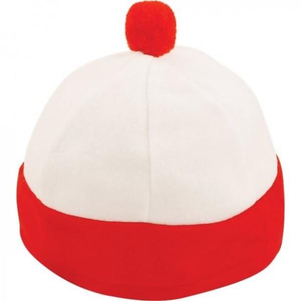 Rot-weiße Fan Bommelmütze