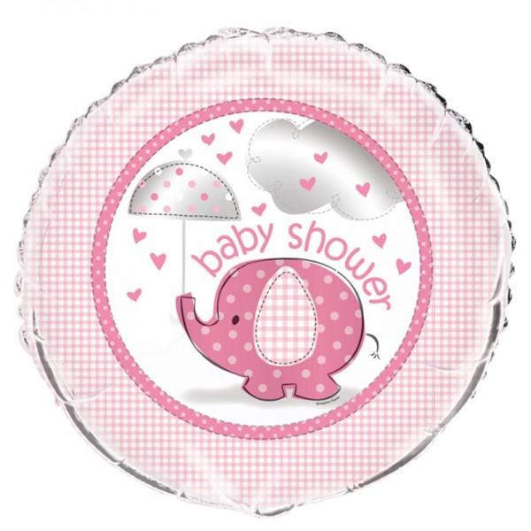 Ballon aluminium éléphant baby party rose