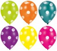 6er Set Luftballons bunt mit weißen Punkten