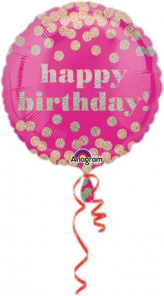 Ballon d'anniversaire à pois scintillants rose