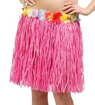 Falda Hawaii flecos rosa 45cm