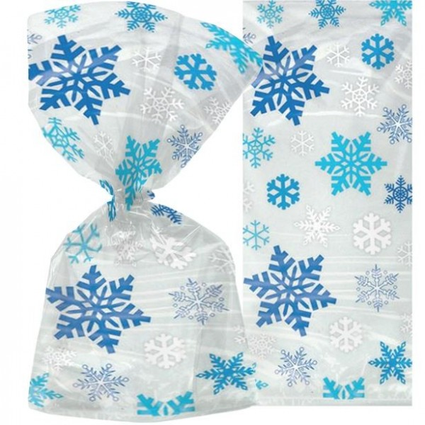 20 sachets de flocon de neige cellophane 30cm