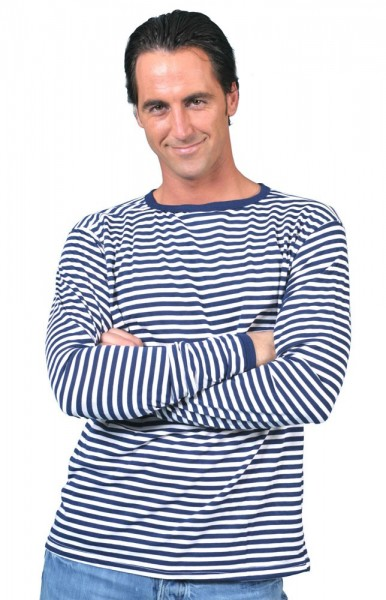 Blue long sleeve striped shirt men