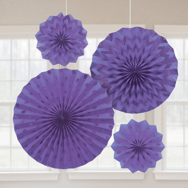 4er Set Glitzer Papierrosetten lila