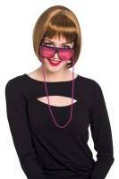 Brille mit Perlenkette in Rosa