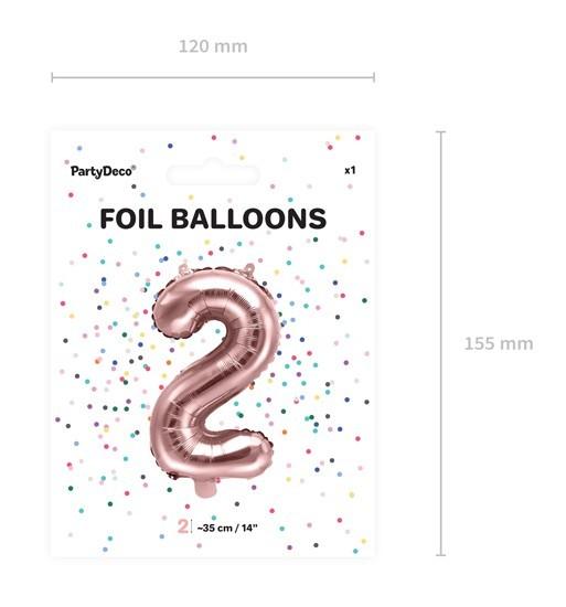 Metallic Zahlenballon 2 roségold 35cm 4