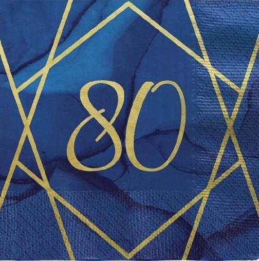 16 Luxurious 80th Birthday Servietten 33cm