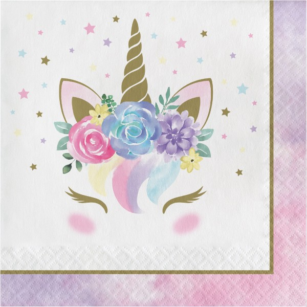 16 Princess Unicorn servietter 33cm