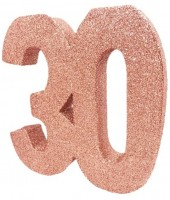 Roségoldene Zahl 30 Tischdeko glitzernd