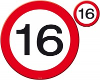 Verkehrschild 16 Tischset 8-teilig
