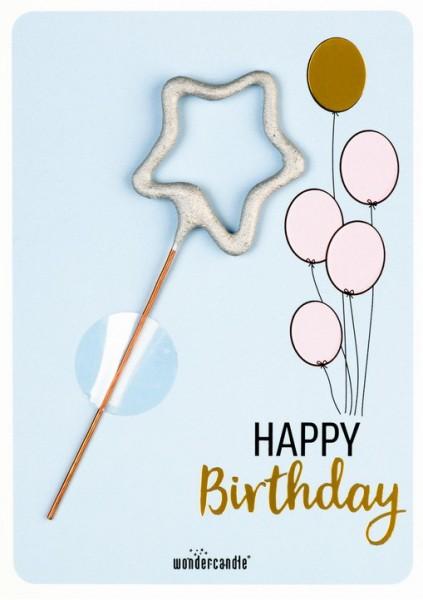 Compleanno palloncini Wondercard azzurro