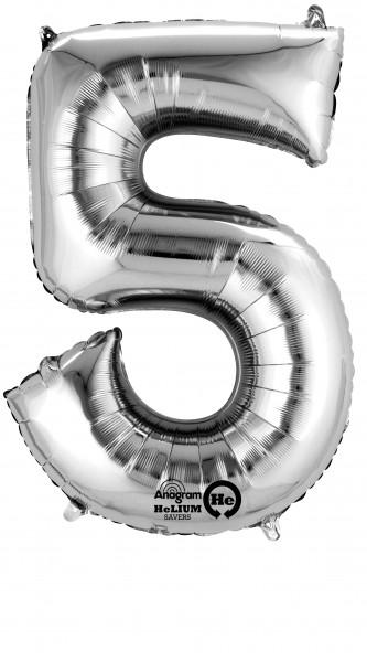 Number balloon 5 silver 86cm
