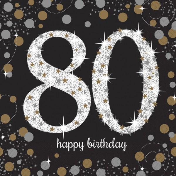 16 Golden 80th Birthday Servietten 33cm