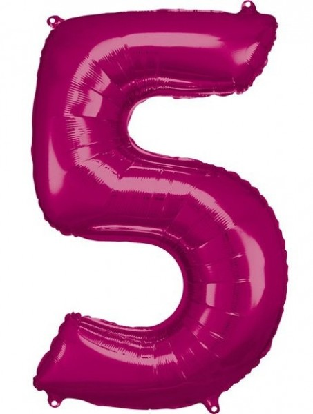 Number balloon 5 metallic pink 86cm