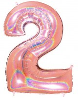 Holo Zahlenballon 2 roségold 1,01m