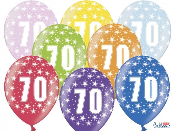 6 Wild 70th Birthday Luftballons 30cm