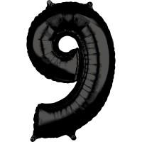 Ballon numéro 9 noir 66cm