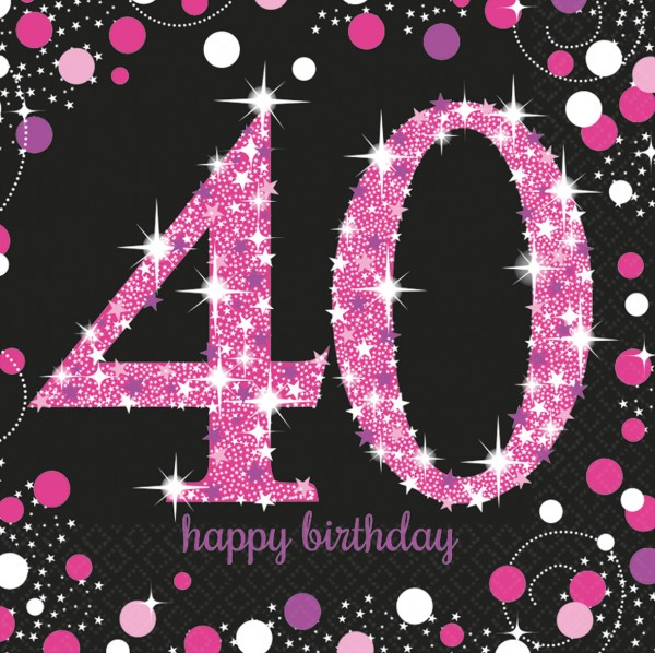 16 Pink Sparkling 40th Birthday Napkins